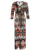 Ample Robe Femme Grandes Tailles Bohème,Imprimé Col en V Maxi Manches Longues Rouge Polyester Printemps / Automne Taille Haute Elastique