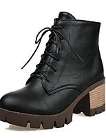 Feminino-Botas-Plataforma Inovador Botas de Cowboy Botas de Neve Botas Montaria-Salto Grosso Plataforma-Preto Marrom Amêndoa-Couro