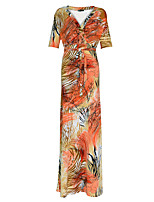 Women's Plus Size Boho Loose DressFloral V Neck Maxi Short Sleeve YellowSpring / Fall High Rise Stretchy Medium