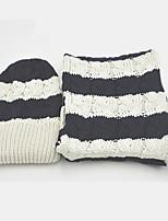 Women Cotton ScarfCasual RectangleBlue / BrownStriped