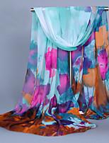 Women's Chiffon Flowers Print Scarf Wine/Royal Blue/Pink/Blue/Green