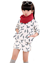 Girl's Casual/Daily Solid DressCotton Fall Black / White