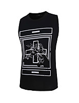 Men's Print Casual Tank Tops,Cotton Sleeveless-Black