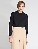C+IMPRESS Women's Work Simple Spring / Fall ShirtSolid Shirt Collar Long Sleeve White / Black Cotton / Bamboo