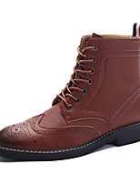 Men's Combat Boots Nappa Leather Party & Evening Flat Heel Zipper / Lace-up Black / Brown Walking EU39-43