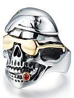 Массивные кольца Циркон Титановая сталь В форме черепа Мода Винтаж По заказу покупателя Серебряный Бижутерия Повседневные 1шт
