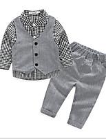 Boy's Casual/Daily Check Clothing SetCotton Summer Gray