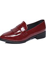 Черный / Бордовый-Женский-На каждый день-Кожа-На плоской подошве-Удобная обувь-На плокой подошве