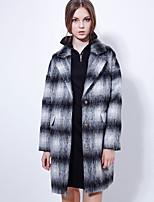 Women's Going out Street chic CoatPlaid Peaked Lapel Long Sleeve Winter Black Wool / Rayon Medium