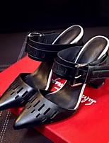 Damen-Sandalen-Lässig-Leder-Blockabsatz-Komfort-Schwarz / Weiß