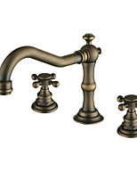 Antique Deck Mounted Widespread Ceramic Valve Two Handles Three Holes Antique Copper Bathroom Sink Faucet