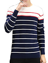 Men's Striped Casual / Sport PulloverCotton Long Sleeve Blue / Red / White
