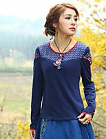 Tee-shirt Femme,Broderie Sortie Vintage Printemps Automne Manches Longues Col Arrondi Bleu Coton Spandex Moyen