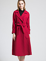 BORME Women's Shirt Collar Long Sleeve Trench Coat Burgundy-Y053