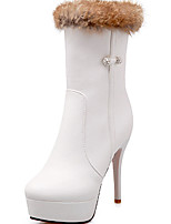 Women's Boots Spring / Fall / Winter Fashion Boots Leatherette/ Casual Stiletto Heel Crystal / OthersBlack / White /