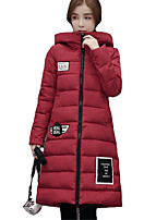 Women's Letter Pink / Red / Black / Gray / Green Padded CoatSimple / Cute Hooded Long Sleeve