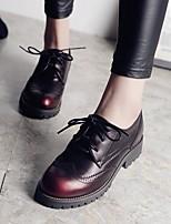 Черный-Женский-На каждый день-Кожа-На толстом каблуке-Удобная обувь-На плокой подошве