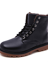 Men's Spring / Fall / Winter Combat Boots Leather Outdoor Flat Heel Black / Red /Brown