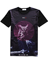 New Fashion Men Owl Crew Neck Short Sleeve Men 3d T-shirt