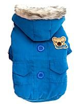 Katzen / Hunde Mäntel / Kapuzenshirts Rot / Blau Hundekleidung Winter / Frühling/Herbst einfarbig warm halten / Winddicht