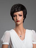 Natural Stright Short Human Hair Capless Wigs  10 Inchs