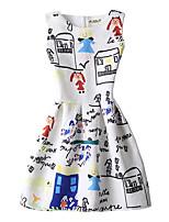 Feminino Bainha Vestido,Casual Vintage Estampado Decote Redondo Acima do Joelho Sem Manga Branco Poliéster Todas as Estações Cintura Média