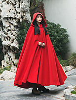 Ramie Cotton Women's Casual/Daily Vintage CoatSolid Hooded Long Sleeve Fall / Winter Red Others Thick