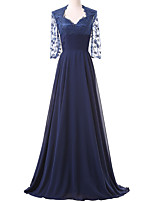 Formal Evening Dress A-line Square Sweep / Brush Train Chiffon / Lace with Appliques / Lace / Pleats