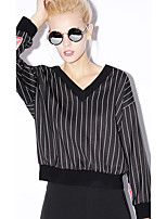 NEW BEFORE  Women's Casual/Daily Simple Regular HoodiesStriped Black V Neck Long Sleeve Rayon / Nylon / Spandex