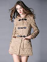 Burdully Women's Solid Black / Brown Padded CoatSimple Hooded Long Sleeve