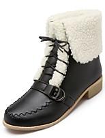 Feminino-Botas-Plataforma Inovador Botas de Cowboy Botas de Neve Botas Montaria-Salto Grosso Plataforma-Preto Amarelo Bege Laranja-Couro