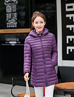 Women's Solid Blue / Red / Black / Green / Purple Padded CoatSimple Hooded Long Sleeve