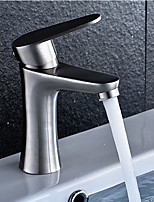 Contemporary Vessel Widespread with  Ceramic Valve Single Handle One Hole for Nickel Brushed Bathroom Sink Faucet