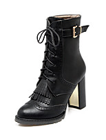 Women's Boots / Fall / Winter Fashion Boots Leatherette / Casual Chunky Heel Lace-up / Tassel Black / Brown Others