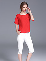 FRMZ  Women's Casual/Daily Simple Summer T-shirtSolid Round Neck Short Sleeve Red / White Rayon Medium