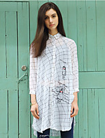 I'HAPPY Women's Going out Simple Spring / Fall T-shirtPlaid / Letter Shirt Collar  Sleeve White Polyester Thin