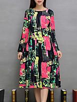 Women's Casual/Daily Vintage Loose DressPatchwork Round Neck Midi Long Sleeve Multi-color Linen All Seasons