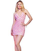 Women's Sweet Pink Heart Print Plus Size Chemise