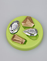 Hot selling custom 4 cavities gem shape biscuits silicone chocolate molds fondant cake tools set