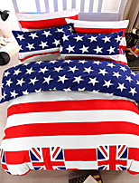 Bedtoppings Comforter Duvet Quilt Cover 4pcs Set Queen Size Flat Sheet Pillowcase Flag Pattern Prints Microfiber