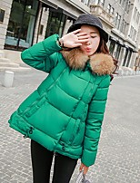 Women's Solid Pink / Red / Black / Green / Purple Padded CoatStreet chic Hooded Long Sleeve