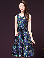 Women's Going out / Plus Size Vintage Sheath Dress,Floral Round Neck Knee-length Long Sleeve Blue Polyester Fall Mid Rise Micro-elastic