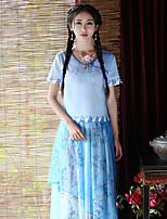 Damen Stickerei Chinoiserie Ausgehen T-shirt,Rundhalsausschnitt Sommer Kurzarm Blau Polyester Mittel