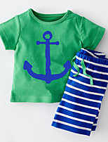 Boy's Casual/Daily Striped Clothing SetCotton Summer Blue / Green / Red