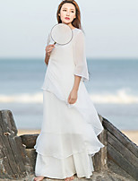 Ramie Cotton Women's Casual/Daily Simple / Chinoiserie Loose DressSolid Round Neck Maxi  Sleeve White