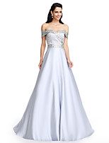 TS Couture® Formal Evening Dress A-line Off-the-shoulder Floor-length Satin with Beading / Crystal Detailing / Sash / Ribbon
