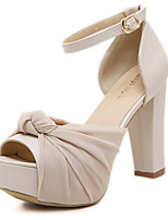 Women's Sandals Ruched Bowknot Buckle Heels/Pumps Peep Toe Platform Ankle Strap Hollow-out Chunky Heel Sandals