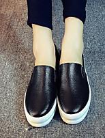 Черный / Белый-Женский-Для прогулок / На каждый день-Кожа-На плоской подошве-Удобная обувь-Мокасины и Свитер