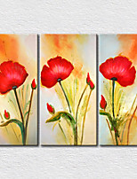 lienzo conjunto / Sin marco lienzo de la lámina Floral/Botánico Modern,Tres Paneles Lienzos Vertical lámina Decoración de pared For