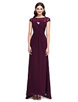 Cauda Escova Chiffon / Renda Elegante Vestido de Madrinha - Tubinho Canoa com Renda / Drapeado Lateral / Cruzado